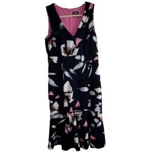 Vince Camuto Navy Floral Fit and Flare Dress 8